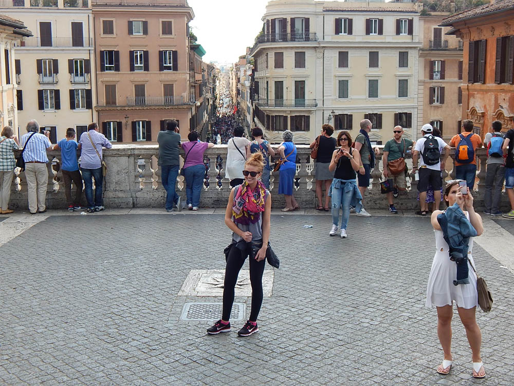 Lacey at the top of the Spanish Steps