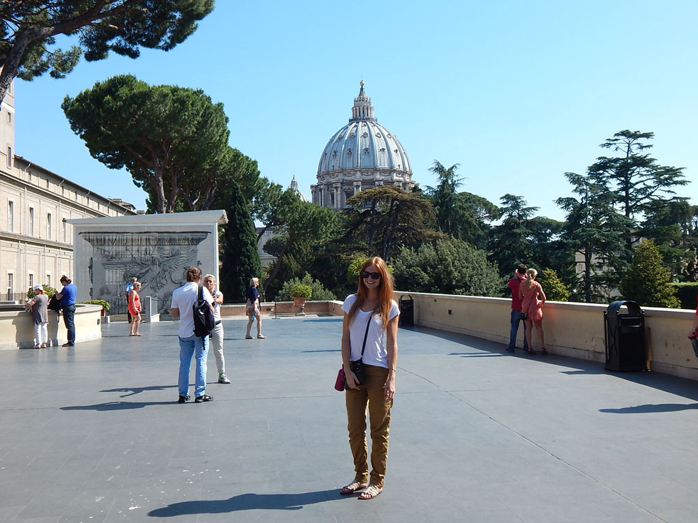 Lacey in front of St. Peter's Basilica