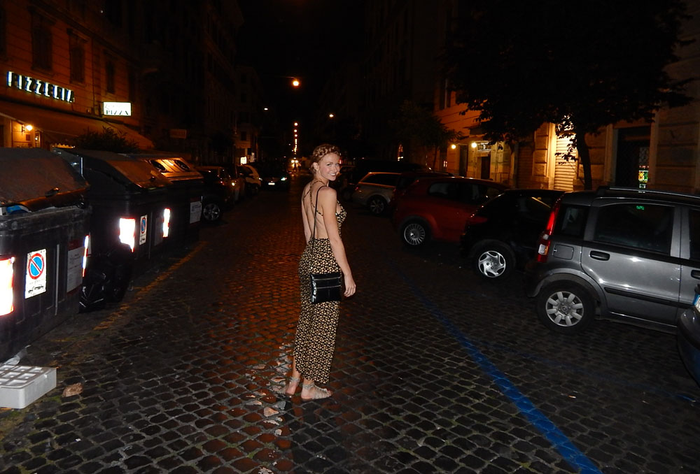 Lacey on cobblestone road in Rome