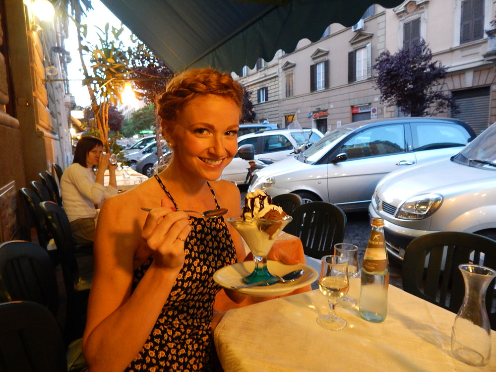 Lacey eating Gelato in Rome