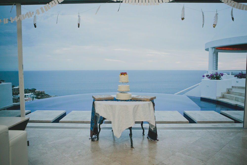 Wedding Cake with Sea in background