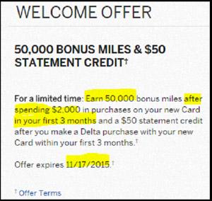 Sky Miles Offer