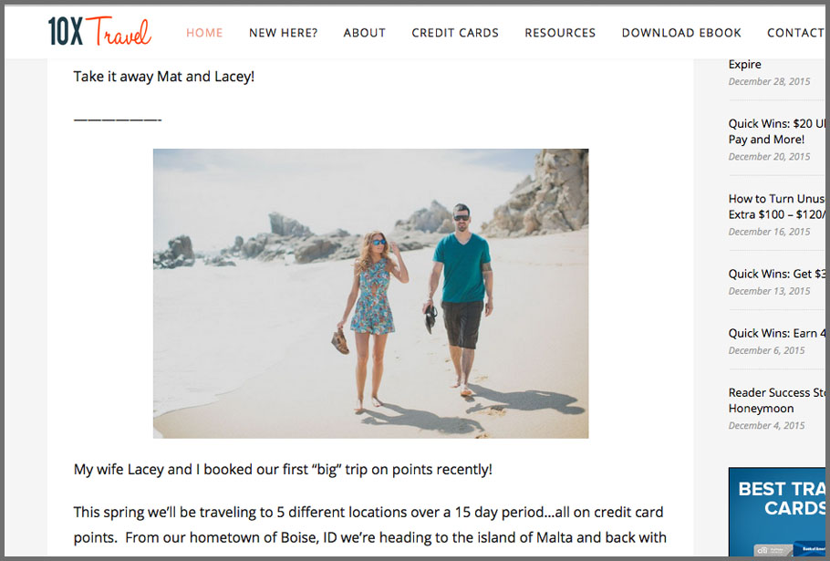 Our recent trip we booked on points was featured on 10xtravel.com