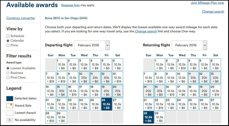 Alaska Airlines Boise to San Diego Rewards Options