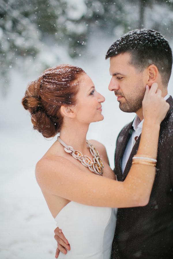 Bride and Groom Wedding Photo Snow